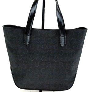 CELINE Coated PVC Black Canvas/Leather Tote Purse